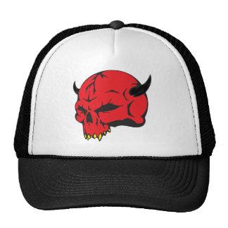 Cráneo rojo del demonio gorro de camionero