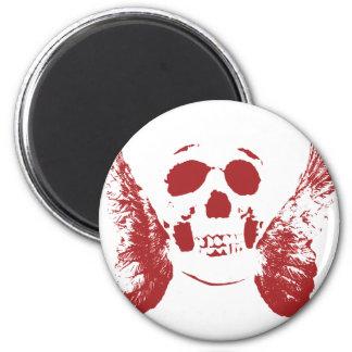 Cráneo rojo imán redondo 5 cm