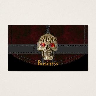Cráneo rojo marrón de la correa del cuero del tarjetas de visita