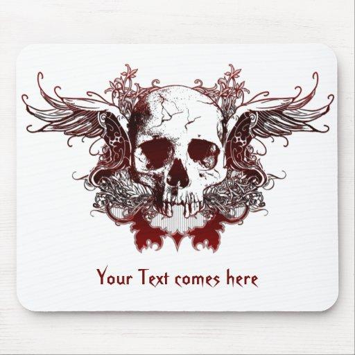 cráneo rojo oscuro Mousepad Tapete De Raton