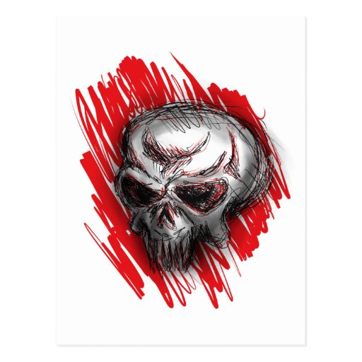 cráneo rojo tarjeta postal
