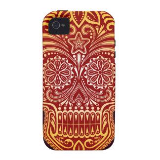 Cráneo rojo y amarillo apretado del azúcar iPhone 4 fundas