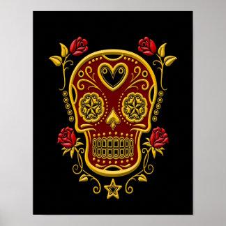 Cráneo rojo y amarillo del azúcar con los rosas en póster