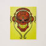 Cráneo, rojo y amarillo del azúcar de DJ Rompecabeza Con Fotos