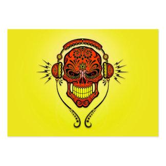 Cráneo, rojo y amarillo del azúcar de DJ Tarjeta De Visita