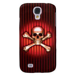 Cráneo rojo y bandera pirata del cromo funda para galaxy s4