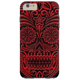 Cráneo rojo y negro complejo del azúcar funda de iPhone 6 plus tough