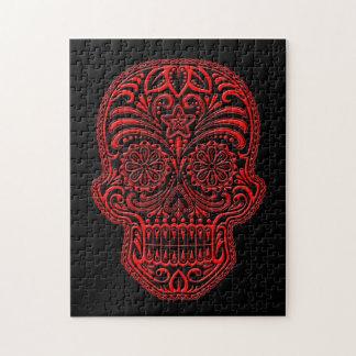 Cráneo rojo y negro complejo del azúcar puzzle