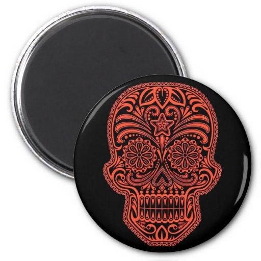 Cráneo rojo y negro decorativo del azúcar imán redondo 5 cm