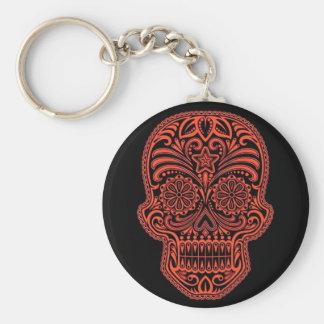 Cráneo rojo y negro decorativo del azúcar llavero personalizado