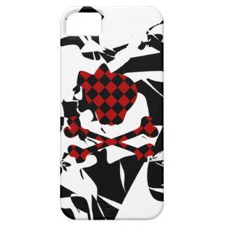 Cráneo rojo y negro del Grunge lindo y bandera Funda Para iPhone SE/5/5s