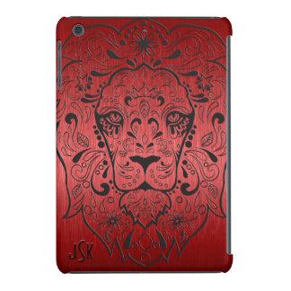 Cráneo rojo y negro metálico del azúcar del león carcasa para iPad mini
