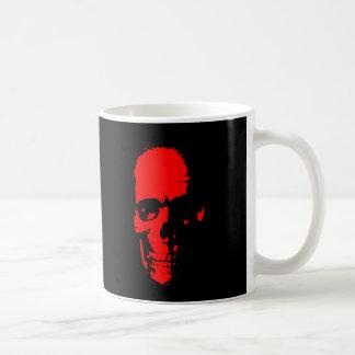 Cráneo rojo y negro taza de café