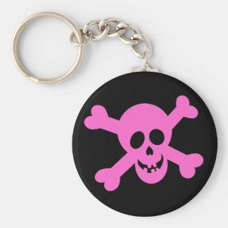 Cráneo rosado brillante y bandera pirata llavero redondo tipo pin