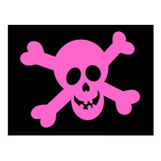 Cráneo rosado brillante y bandera pirata tarjetas postales