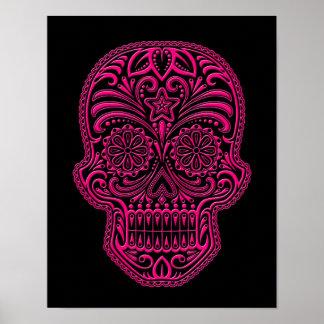 Cráneo rosado complejo del azúcar en negro póster