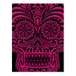 Cráneo rosado complejo del azúcar en negro tarjeta postal