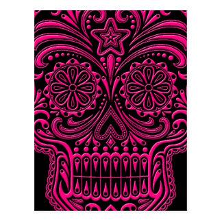 Cráneo rosado complejo del azúcar en negro tarjetas postales