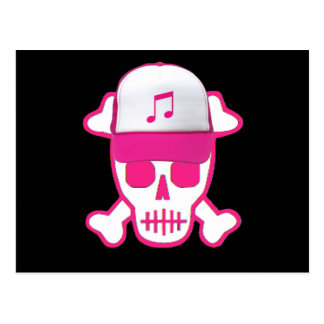 Cráneo rosado con el gorra de la música postales