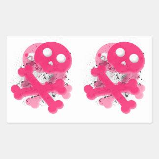 Cráneo rosado con el pegatina del rectángulo del
