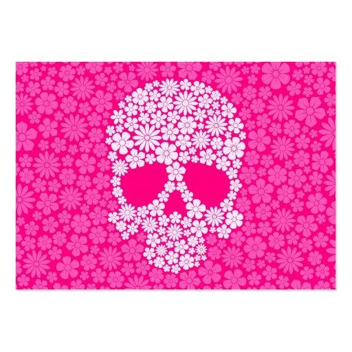 Cráneo rosado de las flores salvajes tarjeta personal