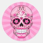 Cráneo rosado del azúcar del diamante pegatina