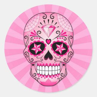 Cráneo rosado del azúcar del diamante pegatina redonda
