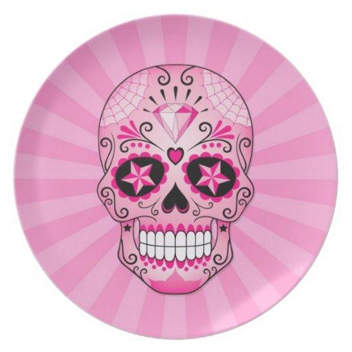 Cráneo rosado del azúcar del diamante plato de cena