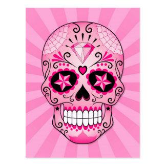 Cráneo rosado del azúcar del diamante postal