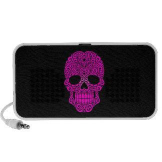 Cráneo rosado del azúcar que remolina en negro iPod altavoces