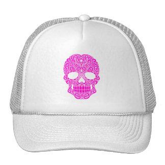 Cráneo rosado del azúcar que remolina gorros