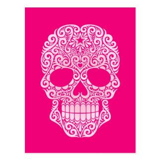 Cráneo rosado del azúcar que remolina postales