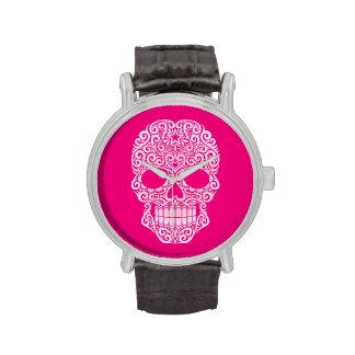 Cráneo rosado del azúcar que remolina relojes de mano
