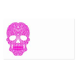 Cráneo rosado del azúcar que remolina tarjetas de visita