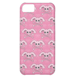 Cráneo rosado del conejito de Kawaii Funda Para iPhone 5C