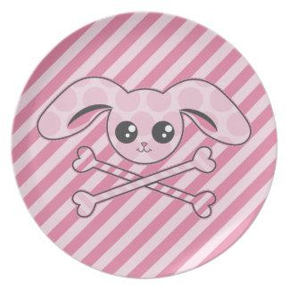 Cráneo rosado del conejito de Kawaii Platos Para Fiestas