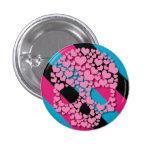 Cráneo rosado del corazón en rayas pin