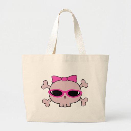 Cráneo rosado del dibujo animado con las gafas de bolsa de tela grande