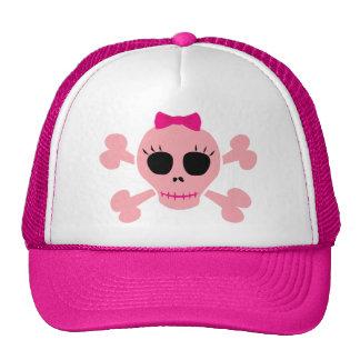 Cráneo rosado divertido gorros bordados