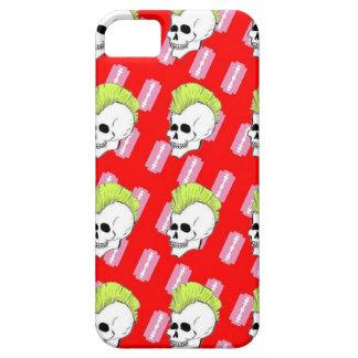 Cráneo rosado elegante de la roca con el Mohawk co iPhone 5 Coberturas