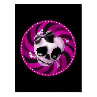 Cráneo rosado femenino con el arco negro tarjetas postales