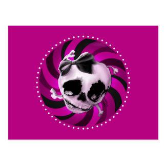 Cráneo rosado femenino con el arco negro tarjeta postal