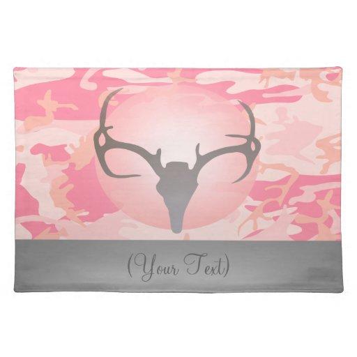 Cráneo rosado femenino y astas Placemat de los cie Mantel Individual