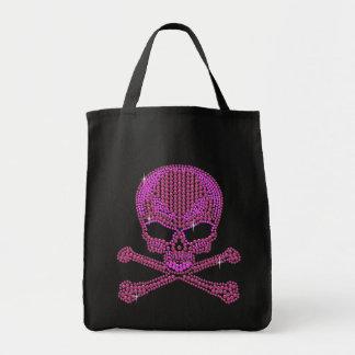 Cráneo rosado impreso y bandera pirata del diamant bolsa tela para la compra