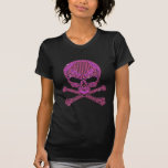 Cráneo rosado impreso y bandera pirata del camisetas