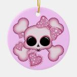 Cráneo rosado lindo adorno redondo de cerámica