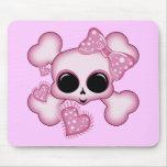 Cráneo rosado lindo alfombrilla de ratón