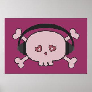 Cráneo rosado lindo DJ del dibujo animado con los Póster