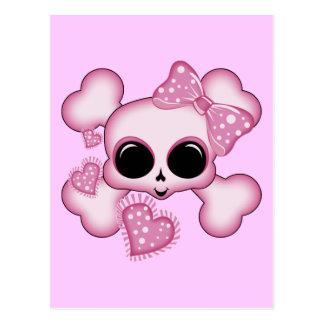 Cráneo rosado lindo postales