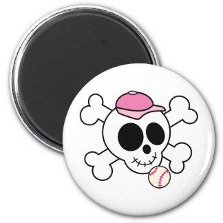 Cráneo rosado lindo y bandera pirata del béisbol imanes para frigoríficos
